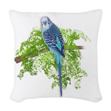 Blue Budgie on Green Woven Throw Pillow