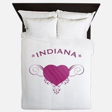 Indiana State (Heart) Gifts Queen Duvet