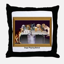 Dogs Playing Beirut Throw Pillow