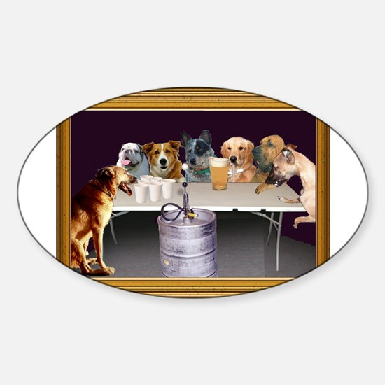 Dogs Playing Beirut Oval Decal