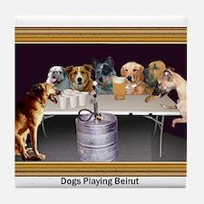 Dogs Playing Beirut Tile Coaster
