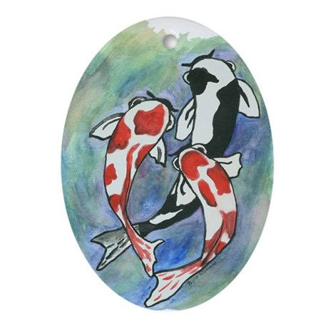 Koi fish oval ornament by gillentine for Koi fish ornament