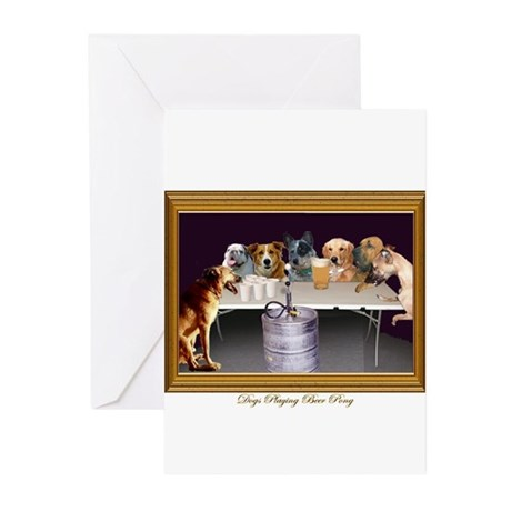 Dogs Playing Beer Pong Greeting Cards (Package of