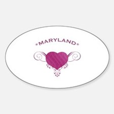 Maryland State (Heart) Gifts Sticker (Oval)