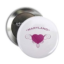 """Maryland State (Heart) Gifts 2.25"""" Button"""