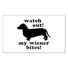 My Wiener Bites Rectangle Decal