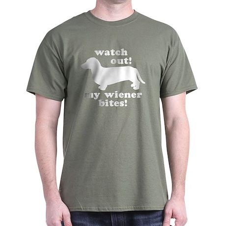 My Wiener Bites Military Green T-Shirt