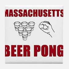 Massachusettes Beer Pong Tile Coaster
