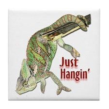 Chameleon Just Hangin Tile Coaster