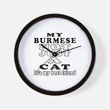 Burmese Cat Designs Wall Clock