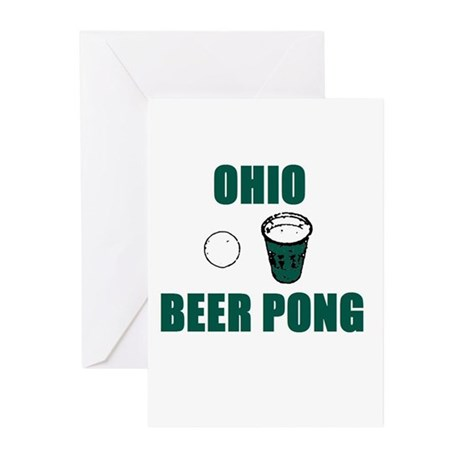 Ohio Beer Pong Greeting Cards (Pk of 10)