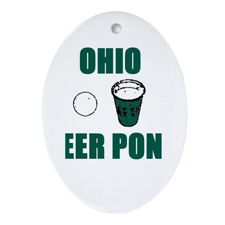 Ohio Beer Pong Oval Ornament