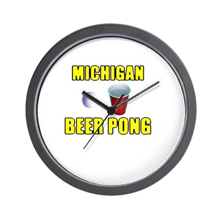 Michigan Beer Pong Wall Clock