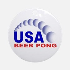 USA Beer Pong Ornament (Round)