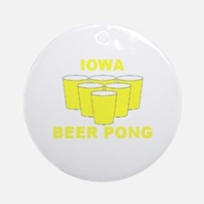 Iowa Beer Pong Ornament (Round)
