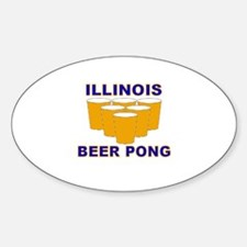 Illinois Beer Pong Oval Decal