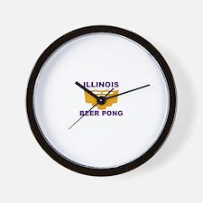 Illinois Beer Pong Wall Clock