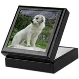 Great pyrenees art Square Keepsake Boxes