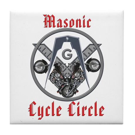 Masonic Bikers Cycle Circle Tile Coaster