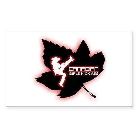 Canadian Girls Kick Ass Maple Sticker (Rectangular