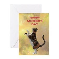 Mothers day card with a cat Greeting Card