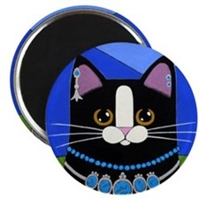Native American Black Tuxedo CAT Folk ART Magnet