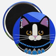 Native American Black Tuxedo CAT Folk ART Magnet