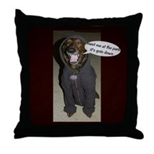 Dog in the Hoody Throw Pillow
