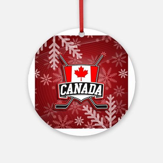 Canadian Hockey Shield Logo Ornament (Round)