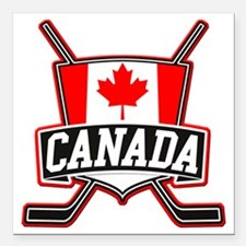 "Canadian Hockey Shield Logo Square Car Magnet 3"" x"