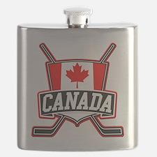 Canadian Hockey Shield Logo Flask