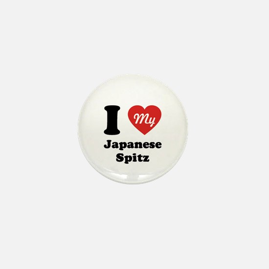 I Heart My Japanese Spitz Mini Button