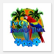 "Island Time Surfing Square Car Magnet 3"" x 3"""
