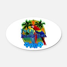 Island Time Surfing Oval Car Magnet
