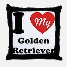 I Heart My Golden Retriever Throw Pillow