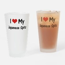 I Heart My Japanese Spitz Drinking Glass