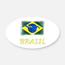 Brasilian World cup soccer Oval Car Magnet