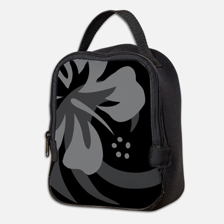 Hibiscus Black Neoprene Lunch Bag
