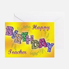Birthday card for teacher with floral text Greetin