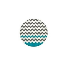 Teal Blue and Grey Mini Button