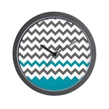 Teal Blue and Grey Wall Clock