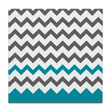 Teal Blue and Grey Tile Coaster