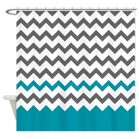teal blue and grey shower curtain by doodles design