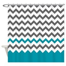 Teal Blue and Grey Shower Curtain