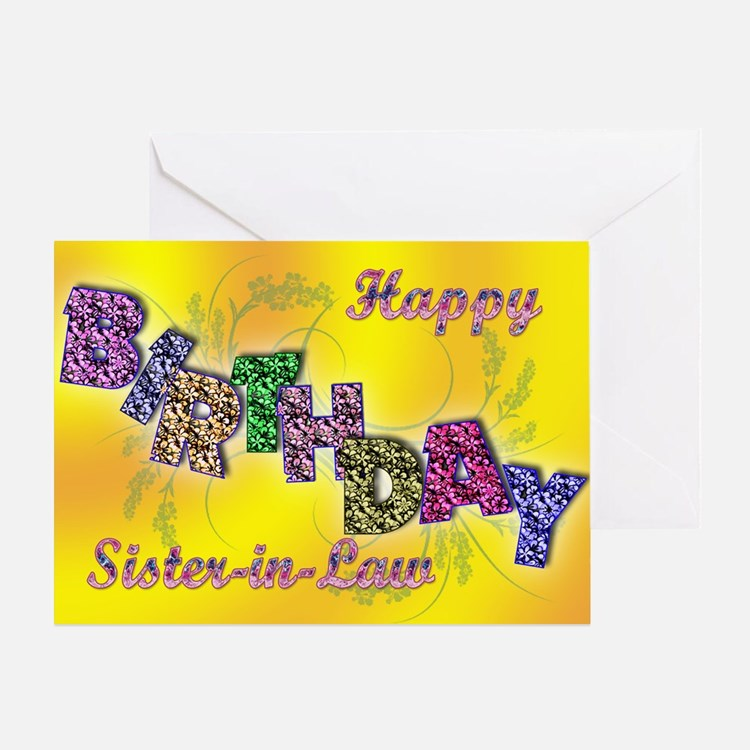Birthday card for sister-in-law with floral text G