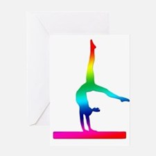 Flip Flop Rainbow Gymnast Greeting Card
