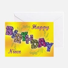 Birthday card for niece with floral text Greeting