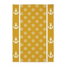 Yellow Gold Ship's Wheels 5'x7'Area Rug