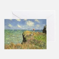 Cliff Walk at Pourville by Claude Mo Greeting Card