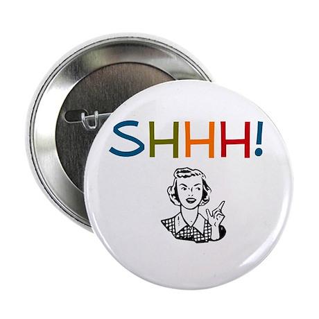 Shhh! Retro Librarian Button
